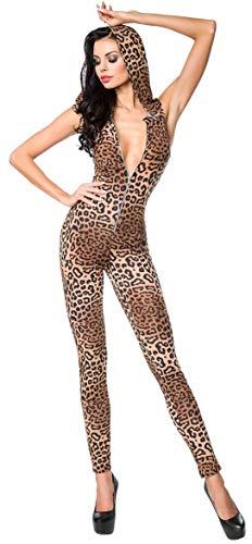 SARESIA außergewöhnlicher Overall mit Kapuze Gr. XS-XL, Jumpsuit Einteiler Clubwear Catsuit Leopard ärmellos (18202 Leo L 900017)