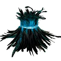 レディースハーネスゴシックナチュラルフェザー肩をすくめるエポレットショールスカーフパンクアジャスタブルサイズファッションショーアクセサリー (空色)