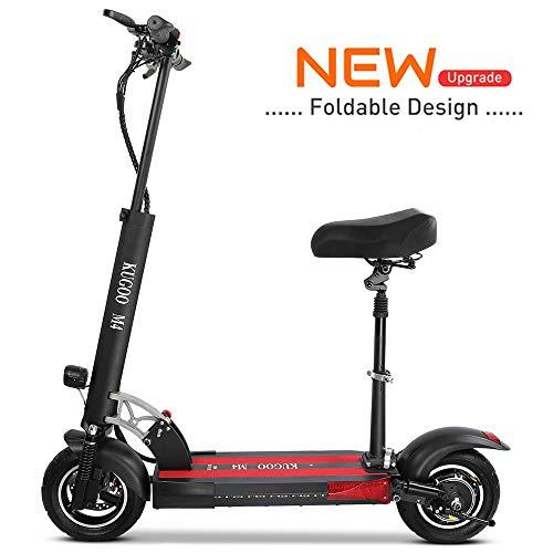 Kugoo Elektroroller, E-Scooter für Erwachsene, bürstenloser 500-W-Motor, 45 km Lange Reichweite, 3 Geschwindigkeitsmodi, 10-Zoll-Luftreifen-Roller mit Sitz, Pendler-E-Scooter