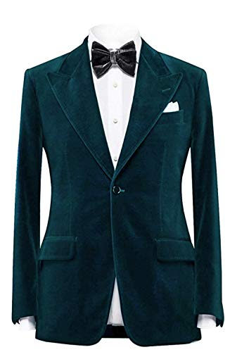 Everbeauty Slim Fit Velvet Blazer for Men Stylish Men's Fashion Lapel Velvet Coat Wedding Tuxedo Jacket Teal