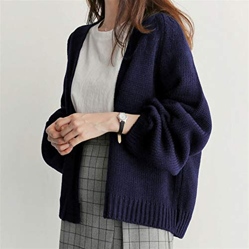 Spring and Automne Casual Couleur Solide Mesdames 'Tops Chic Femme Cardigan Pull à Manches Longues Lampe de Grande Taille Girl Girls Tricote Jacket (Color : Navy Blue, Size : One Size)