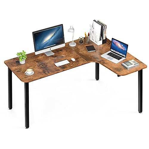 EUREKA ERGONOMIC L Shaped Corner Gaming Computer Desk, 60' Multi-Functional Office Corner Desk ,Computer Desk Study Writing Table for Home Office, Wooden Table Workstation, Right Side, Archaize Brown