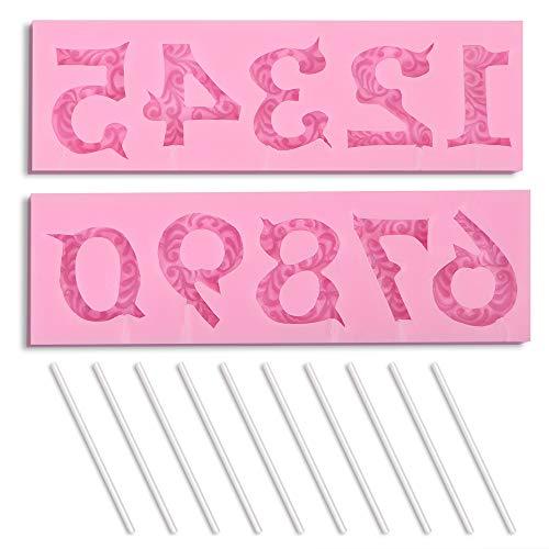 HomEdge - Molde de silicona para números 3D, para decoración de tartas, decoración de tartas, apto para aniversario