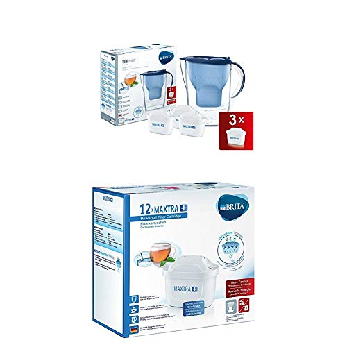Brita Wasserfilter Starterpaket Marella, inkl. 3 Maxtra+ Filterkartuschen blau + Filterkartuschen Maxtra+ 12er Pack weiß