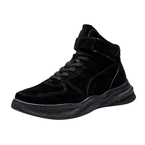 Xuthuly Männer Klassische Vintage Reine Farbblockstiefeletten Männliche Beiläufige Kurze High-Top Einzelne Schuhe Bequeme Abnutzung rutschfeste Flache Schuhe