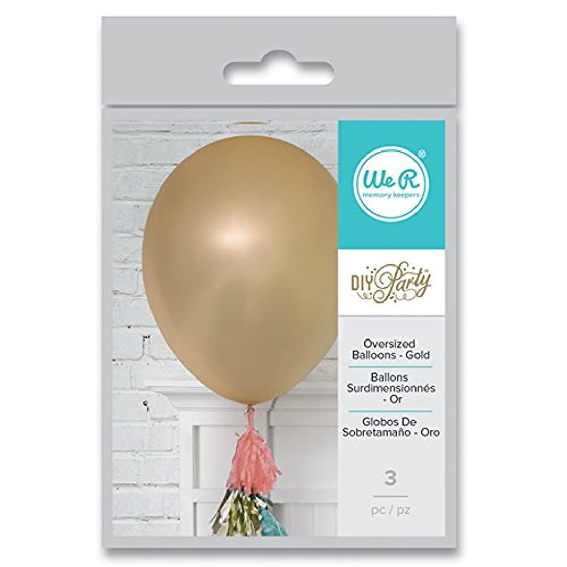 American Crafts We R Memory Keepers Motion DIY Party Gold Balloons 3 Piece