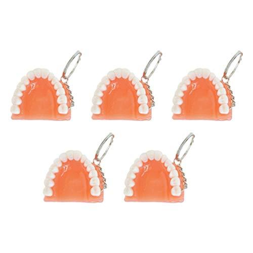 Amosfun 5Pcs Zähne Keychain Schlüsselring Lustiges Keychain für Zahnmedizinisches Klinikgeschenk Des Handyzahnarztes