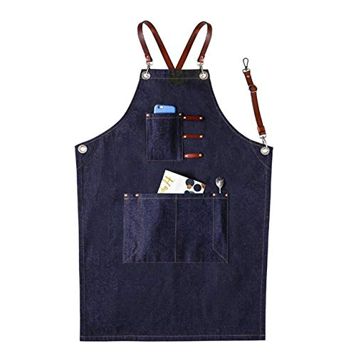 YBBDBQ Schürze Jeans Schürze Pu Lederband Graue Schürze Barista Haarschnitt Latzhose Restaurant Gärtner Schürze LatzhoseB Blau