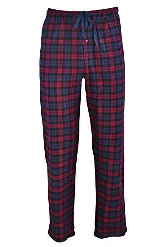 Hanes Men's 100% Cotton Flannel Plaid Pajama Pant, Red, Large