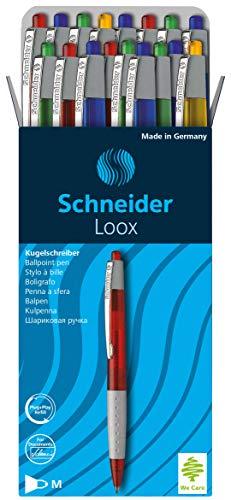 Schneider Loox Kugelschreiber (Schreibfarbe: blau, Strichstärke M, Druckmechanik, dokumentenechte Mine) 20er Packung sortiert