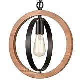 Industrial Pendant Light Walnut Wood Frame Elegant Farmhouse Light Fixture Pendant Lighting