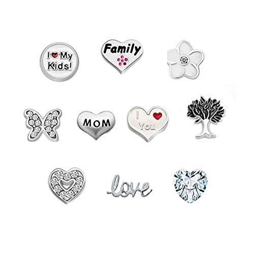 Third Time Charm I Love You Mom Floating Family Charm for Glass Living Memory Lockets Necklace & Bracelets