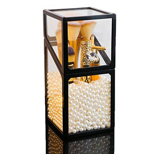 Kosmetik Organiser Pinsel Aufbewahrung mit Deckel Transparent Glas Make-up Pinselhalter zum Aufbewahren von Schminke für Make-up Pinsel mit kostenlosen weißen Perlen (10 x 10 x 21cm)
