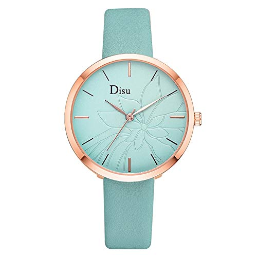 WLH Reloj De Aleación Femenino De Moda Cinturón De Cuero Artificial Reloj De Pulsera De Cuarzo Elegante Azul Cielo