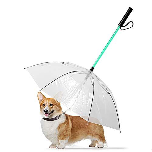 WU Paraguas Animal Doméstico del Perro con Correa Y Luz LED, Transparente Perro Que Brilla Paraguas con 7 Colores, Impermeable Ya Prueba De Viento del Paraguas De Viaje para Perros Pequeños