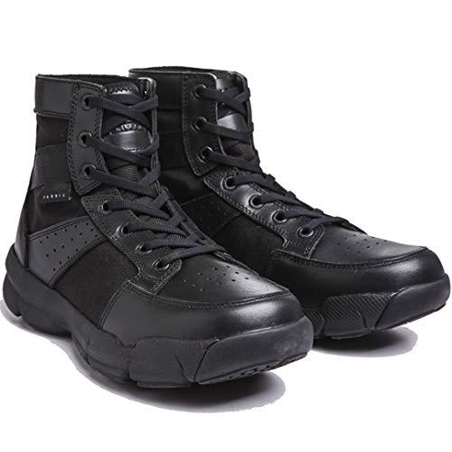 Les Militaires Tactiques Première Couche en Cuir Travail Sport Bottes en Nylon imperméable Stab résistant Sneakers Chaussures de randonnée Black 41