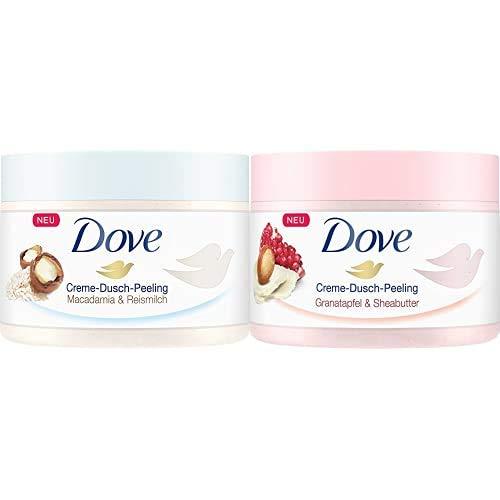 Dove Dusch-Peeling Macadamia & Reismilch, 4er Pack (4 x 225 ml) + Dove Creme-Dusch-Peeling für seidig glatte Haut Granatapfel & Sheabutter mit reichhaltiger Textur, 4er Pack (4 x 225 ml)