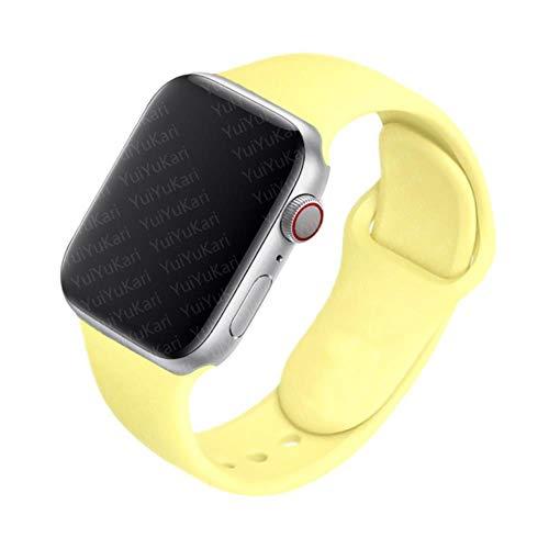 TIANQ Correa De Silicona para Apple Watch Band 40Mm 38Mm 44Mm 42Mm Pulsera De Goma Pulsera Deportiva Cinturón Iwatch Serie 5 4 3 2 40 38 42 44 Mm, Amarillo Suave, 38 O 40 Mm SM