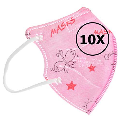 TBOC Mascarillas FFP2 [Pack 10 Unidades] Máscaras [Talla Pequeña] Desechables [Rosa Estrellas] 5 Capas [No Reutilizables] Transpirables Plegables con Pinza Nasal [Certificadas y Homologadas]