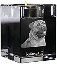 Bullmastiff, Crystal Candlestick, Candle Holder with Dog, Souvenir, Limited Edition