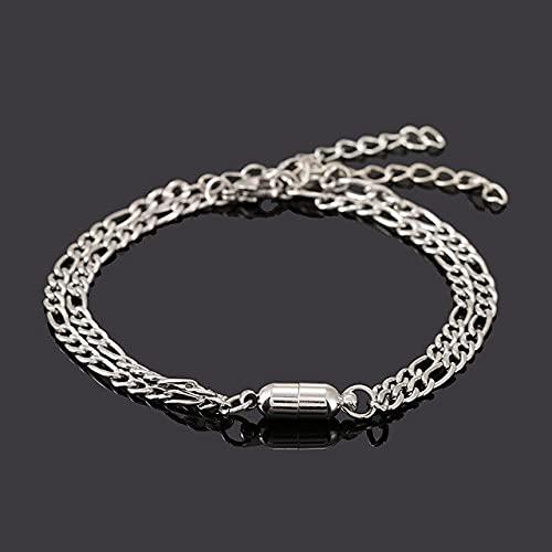 Landia 2 unids/set parejas encanto imán pulsera para los hombres y las mujeres, cadena de acero inoxidable pulseras de enlace de 2021 regalos del Día de San Valentín