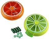 [2 Pack] Pill Organizer Box Weekly Portable Rotating Travel Medicine Holder Storage Case Box Dispenser, Cute Fruit Style (Orange,Lemon) (Fruits)