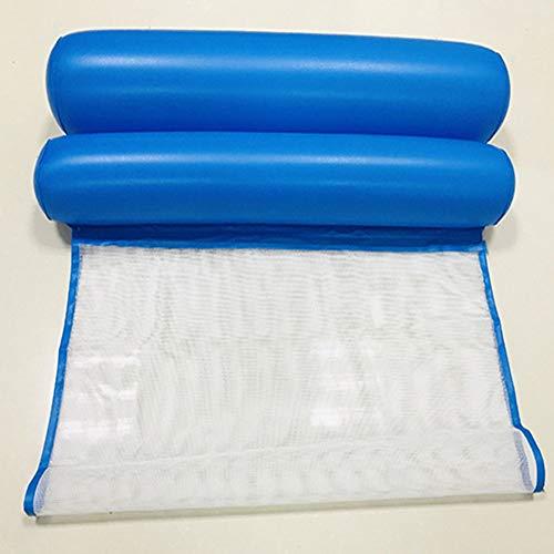 KK Zachary Pool Netz-Hängematte, aufblasbar, zusammenklappbar, doppelte Rückenlehne, schwimmende Reihe, Wasservorlauf, Liegestuhl, schwimmendes Bett, Sofa (Farbe: Blau)