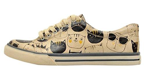 Dogo Shoes Women's Monochrome Cats Low Top Sneakers (US 8 - EU 38)