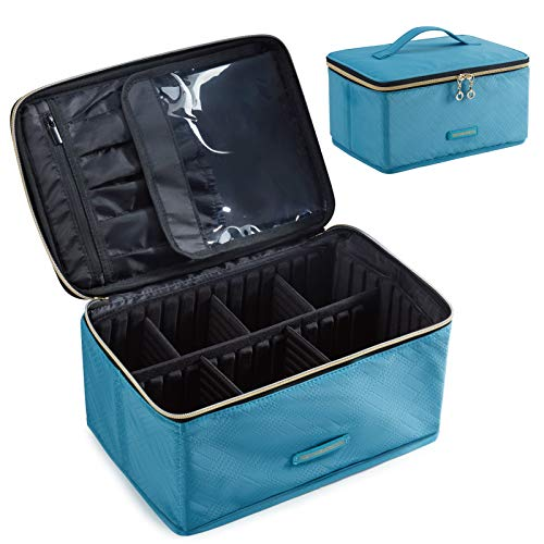 Travel Makeup Bag, LIGHT FLIGHT Large Cosmetic Bag for Women Makeup Case Organizer with Adjustable Dividers for Cosmetics Make Up Tools Toiletries
