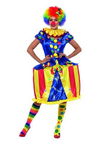 Luxuspiraten - Damen Frauen gepunktetes Zirkus Clown Kostüm mit bunten Zirkuszelt Reifkleid, Clowns Kragen Butinette und Haarband, perfekt für Karneval, Fasching und Fastnacht, M, Blau