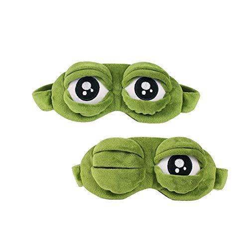 DXIA 2 Stücke Schlafmasken, Schlafmaske Augenbinde, Kreative Cartoon Frosch Augenmaske, Lustige Kreative Augenmaske Nachtmaske, Frosch Maske Schlafen Reisen für Kinder und Erwachsene