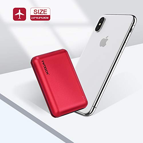 YWTESCH Batería Externa 20000mAh, Power Bank Cargador Portátil con 2 Cable, Salida USB-A1 / A2 y Entrada Type C, Aleación de Aluminio, Powerbank Compatible con iPhone/iPad/Android (Rojo)