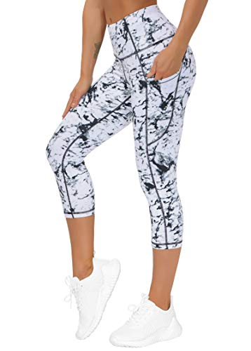 THE GYM PEOPLE Thick High Waist Yoga Pants with Pockets, Tummy Control Workout Running Yoga Leggings for Women (Medium, Z- Capris Marble)
