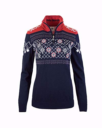Dale of Norway Damen Podium Feminine Sweater XS Marineblau/Himbeere/Off-White
