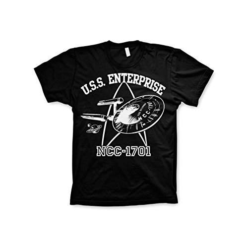 Star Trek Offizielles U.S.S. Enterprise 3XL,4XL,5XL Herren T-Shirt (Schwarz), 5X-Large