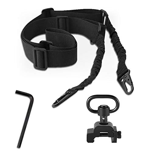 Two Point Sling with QD Swivel, Quick Release Sling Mount ,Rifle Sling Adjustable Traditional Sling with Metal Hook for Outdoors Sports Black