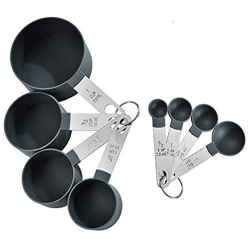 letuxiashop Juegos de cucharas medidoras Taza medidora y Cuchara medidora de 8 Piezas, Mango de Acero Inoxidable y Cuchara medidora de plástico.