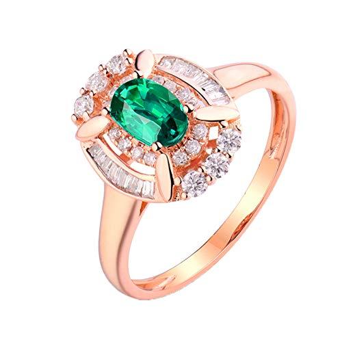 Daesar Anillo Mujer Oro Rosa 18K,Oval Esmeralda Verde 0.5ct Diamante 0.31ct,Oro Rosa Verde Talla 6,75
