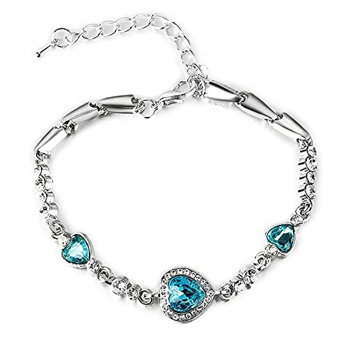 XPT Pulsera para mujer, elegante con forma de corazón, color azul, aleación de diamantes de imitación, ajustable, elegante, para fiestas, uso diario, color azul claro