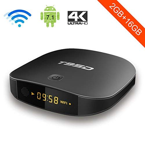 T95D Android 7.1 TV Box with 2GB RAM 16GB R0M Quad Core Media Player supports Bluetooth/ HD 4K HDMI/Wi-Fi 2.4GHz/H.265