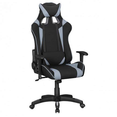 Amstyle Score Gaming Chair mit Stoff-Bezug | Drehstuhl in Race-Optik) Schwarz/Grau