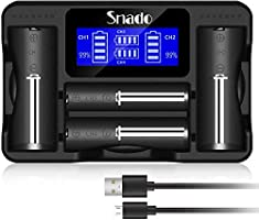 Snado LCD Display Universal Intelligent Charger for Rechargeable Batteries Li-ion batteries 18650 18490 18350 26650,...