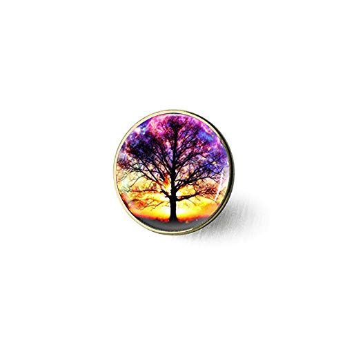 qws Art Tree Vintage Life of Tree Glass Brooch - Bible Quote- Religious Jewelry Brooch