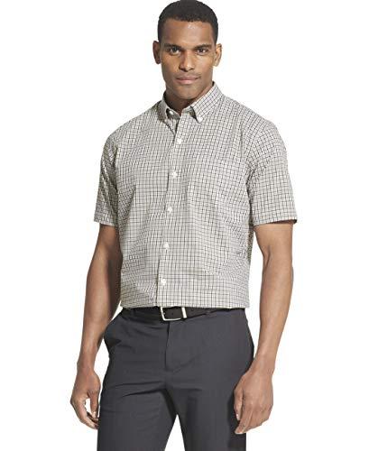 Van Heusen Men's Flex Short Sleeve Button Down Check Shirt, Black Minicheck, Large