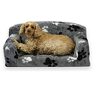 Fur Paws - Faux Fur Pet Sofa. Nice Pet Settee. Very Soft Dog bed. Removable cover for animal Couch. Inner material is high grade foam. UK MANUFACTURER (Grey with paws, Medium 96 x 46 x 34cm):Dailyvideo