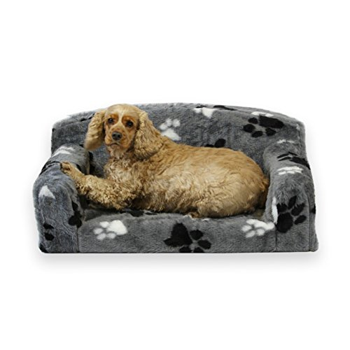 Fur Paws – Faux Fur Pet Sofa. Nice Pet Settee. Very Soft Dog bed. Removable cover for animal Couch. Inner material is high grade foam. UK MANUFACTURER (Grey with paws, Large 96 x 64 x 34cm)