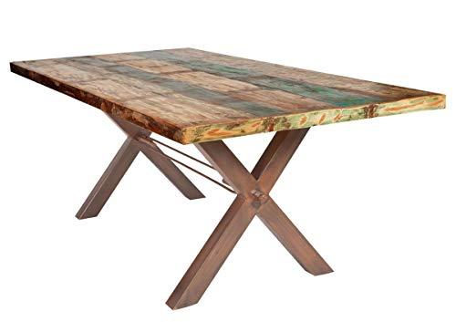 SIT-Möbel 7180-98 Table de Table en Bois d'Althold laqué avec Plateau en Fer 200 x 100 x 76 cm Châssis Marron Vieilli 4 cm
