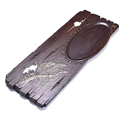 Buy Bargain Tea Tray Home Solid Wood Tea Tray Ebony Tea Tray Office Tea Table Simple Wooden Tea Tray Hand-carved, The Best Gift (Color : Brown, Size : 85x34x3.5cm)