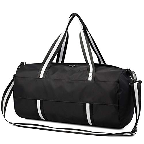 Sports Gym Bag, Unisex, Independent Shoe Compartment, Lightweight Large-Capacity Waterproof and Wear-Resistant Shoulder Bag (Black)