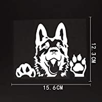 car stickers 15.6x12.3CMアートデカールドイツの羊飼い犬のビニール車のステッカー黒/銀 funny car stickers (Color Name : Silver)